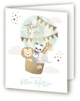 This is a green baby shower thank you card by peetie design called baby balloon ride with foil-pressed printing on strathmore in standard.