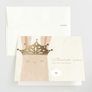 """Princess Bunny"" - Foil-pressed Baby Shower Thank You Cards in Silk by Katarina Berg."