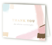 This is a grey baby shower thank you card by Angela Marzuki called Quilt with foil-pressed printing on strathmore in standard.