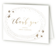 This is a gold baby shower thank you card by Carolyn Nicks called Ethereal Sky with foil-pressed printing on strathmore in standard.