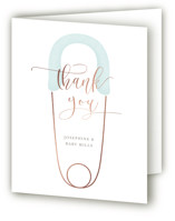 This is a blue baby shower thank you card by Lehan Veenker called Diaper Pin with foil-pressed printing on strathmore in standard.