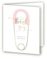This is a pink baby shower thank you card by Lehan Veenker called Diaper Pin with foil-pressed printing on strathmore in standard.