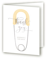 This is a yellow baby shower thank you card by Lehan Veenker called Diaper Pin with foil-pressed printing on strathmore in standard.