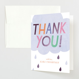 """Oh Baby! Rain Cloud"" - Foil-pressed Baby Shower Thank You Cards in Periwinkle by melanie mikecz."