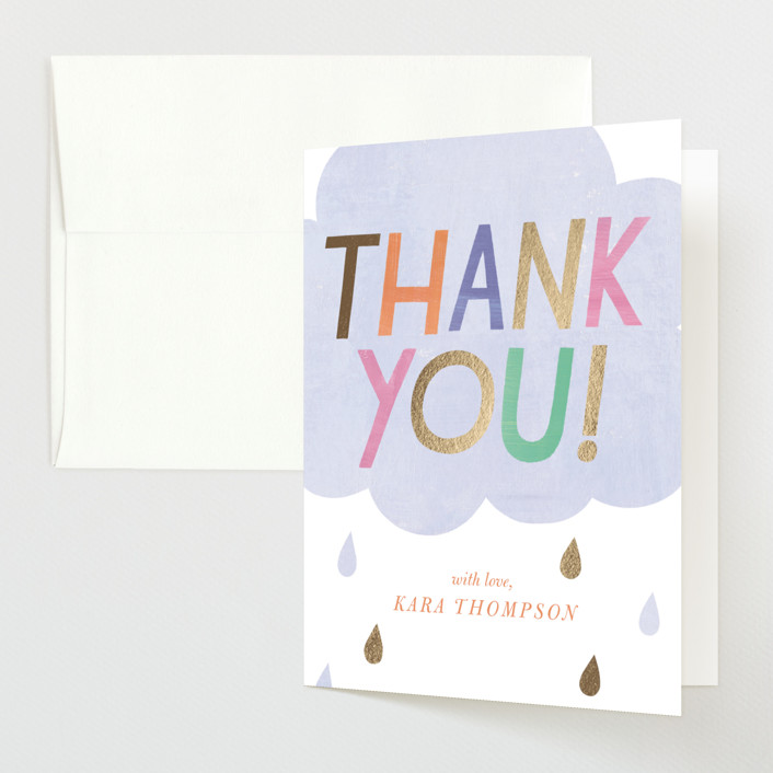"""""""Oh Baby! Rain Cloud"""" - Foil-pressed Baby Shower Thank You Cards in Periwinkle by melanie mikecz."""