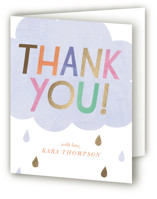 This is a blue baby shower thank you card by melanie mikecz called Oh Baby! Rain Cloud with foil-pressed printing on strathmore in standard.