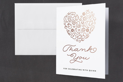 Sweetheart Foil-Pressed Baby Shower Thank You Cards