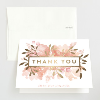 floral marquee Foil-Pressed Baby Shower Thank You Cards