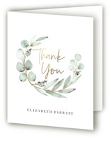 This is a green baby shower thank you card by Petra Kern called Eucalypta with foil-pressed printing on strathmore in standard.