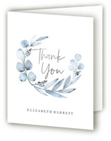 This is a blue baby shower thank you card by Petra Kern called Eucalypta with foil-pressed printing on strathmore in standard.