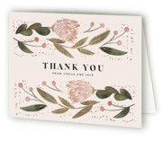 This is a green baby shower thank you card by Leah Bisch called Fleur with foil-pressed printing on strathmore in standard.