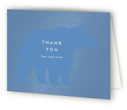 This is a blue baby shower thank you card by Baumbirdy called Classic Bear with foil-pressed printing on strathmore in standard.