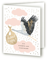 This is a pink baby shower thank you card by Alethea and Ruth called Celebrate Confetti Stork with foil-pressed printing on strathmore in standard.