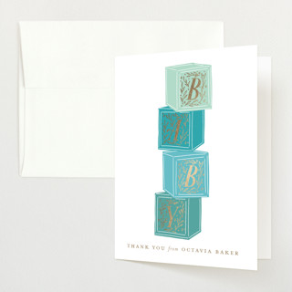 """Stacked Blocks"" - Foil-pressed Baby Shower Thank You Cards in Seafoam by Jackie Crawford."