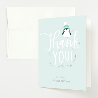 baby penguin Foil-Pressed Baby Shower Thank You Cards