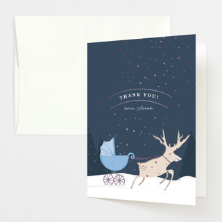 """Oh Deer"" - Foil-pressed Baby Shower Thank You Cards in Boyish by Creo Study."