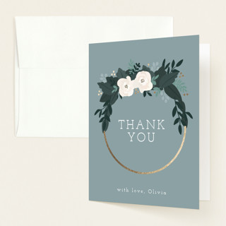 """Boho Wreath"" - Foil-pressed Baby Shower Thank You Cards in Fern by Hudson Meet Rose."
