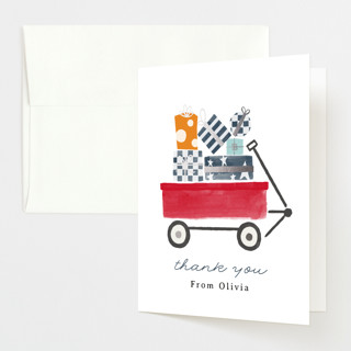 """""""Red Wagon"""" - Whimsical & Funny Foil-pressed Baby Shower Thank You Cards in Merlot by JeAnna Casper."""