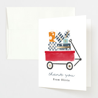 """Red Wagon"" - Whimsical & Funny Foil-pressed Baby Shower Thank You Cards in Merlot by JeAnna Casper."