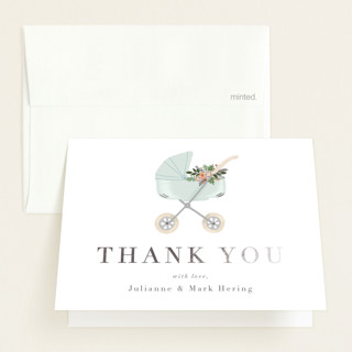 """""""Love and Flowers"""" - Whimsical & Funny Foil-pressed Baby Shower Thank You Cards in Mint by Juliana Zimmermann."""