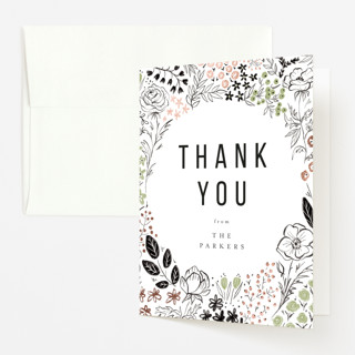 """Surrounded by flowers"" - Foil-pressed Baby Shower Thank You Cards in Sage by Susanne Kasielke."