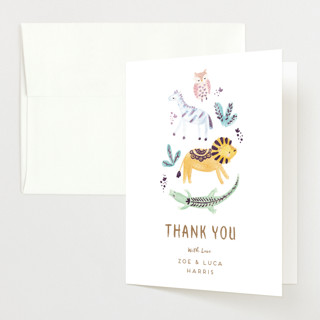 """""""animal accents"""" - Whimsical & Funny Foil-pressed Baby Shower Thank You Cards in Almond by peetie design."""