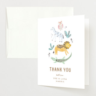 """animal accents"" - Whimsical & Funny Foil-pressed Baby Shower Thank You Cards in Almond by peetie design."