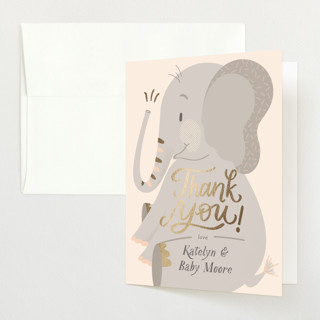 """Peanuts and Popcorn"" - Whimsical & Funny Foil-pressed Baby Shower Thank You Cards in Blush by Carrie ONeal."