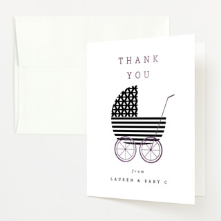 """""""Monochromatic"""" - Preppy Foil-pressed Baby Shower Thank You Cards in Oreo by peony papeterie."""