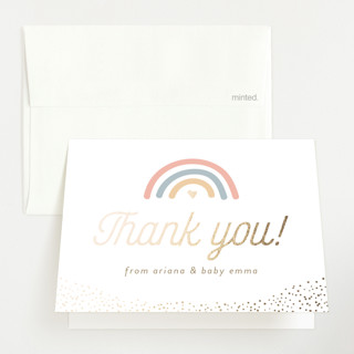 """Over the Rainbow"" - Whimsical & Funny Foil-pressed Baby Shower Thank You Cards in Boho by Tennie and Co.."