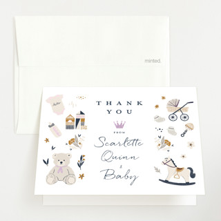 """""""Crown"""" - Whimsical & Funny Foil-pressed Baby Shower Thank You Cards in Navy by Vivian Yiwing."""
