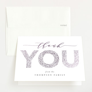 """""""big floral letters"""" - Foil-pressed Baby Shower Thank You Cards in Snow by Anastasia Makarova."""