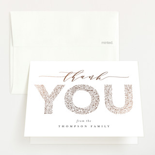 """big floral letters"" - Foil-pressed Baby Shower Thank You Cards in Snow by Anastasia Makarova."