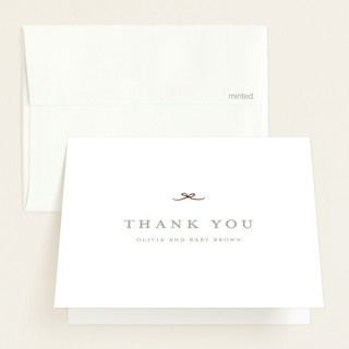 """""""Tiny Bow"""" - Foil-pressed Baby Shower Thank You Cards in Sage by Buddy Creative."""