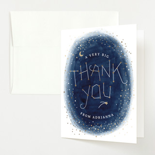 """""""Constellation"""" - Foil-pressed Baby Shower Thank You Cards in Midnight by JeAnna Casper."""