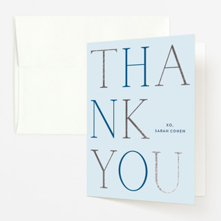 """boy oh boy!"" - Modern Foil-pressed Baby Shower Thank You Cards in Azure by Annie Shapiro."