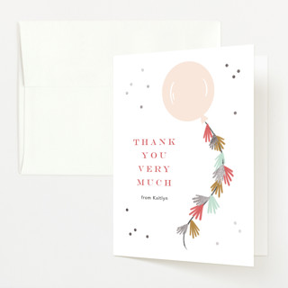 """Fringe"" - Whimsical & Funny Foil-pressed Baby Shower Thank You Cards in Blush by Kristen Smith."