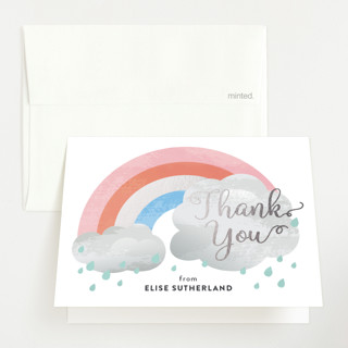 """Rainbow through the clouds"" - Whimsical & Funny Foil-pressed Baby Shower Thank You Cards in Blush by Jessica Ogden."