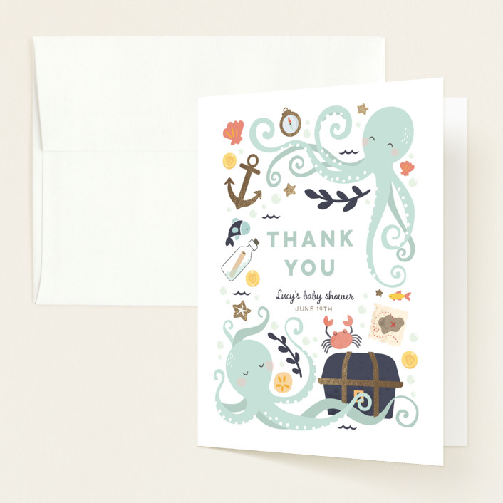 """""""little treasure"""" - Whimsical & Funny Foil-pressed Baby Shower Thank You Cards in Aqua by peetie design."""