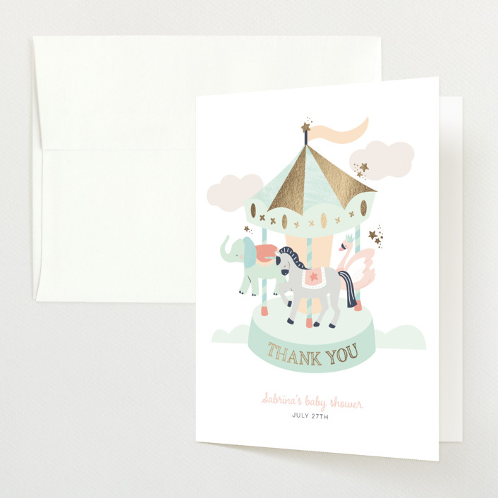 """""""baby carousel"""" - Whimsical & Funny Foil-pressed Baby Shower Thank You Cards in Mint by peetie design."""