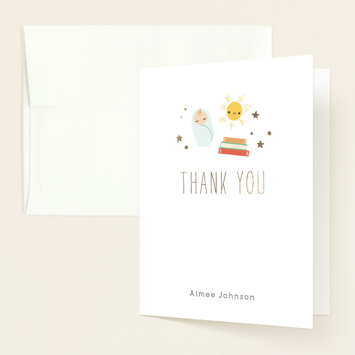 """""""Little Bookworm"""" - Whimsical & Funny Foil-pressed Baby Shower Thank You Cards in Tropical by Itsy Belle Studio."""