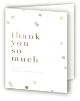 This is a blue baby shower thank you card by Angela Marzuki called Confetti Toss with foil-pressed printing on strathmore in standard.