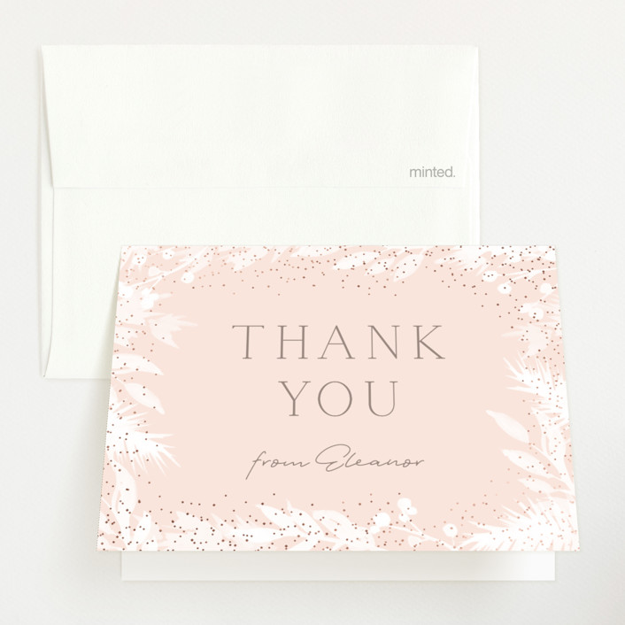 """""""Sprinkled"""" - Foil-pressed Baby Shower Thank You Cards in Blush by JeAnna Casper."""