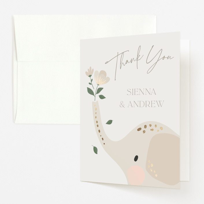 """""""Floral Elephant"""" - Whimsical & Funny Foil-pressed Baby Shower Thank You Cards in Taupe by Vera Lim."""