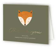 This is a green baby shower thank you card by Juliana Zimmermann called Woodland with foil-pressed printing on strathmore in standard.