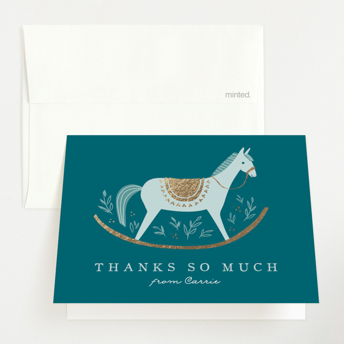 """""""Rocking Horse"""" - Whimsical & Funny Foil-pressed Baby Shower Thank You Cards in Lake by Karidy Walker."""