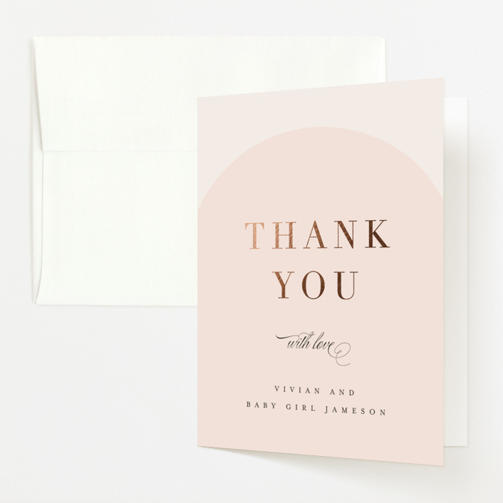 """""""Soft Arch"""" - Modern Foil-pressed Baby Shower Thank You Cards in Blush by Erica Krystek."""