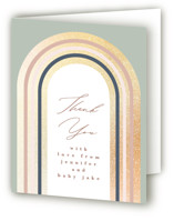 This is a green baby shower thank you card by Phrosne Ras called rainbow funk with foil-pressed printing on strathmore in standard.