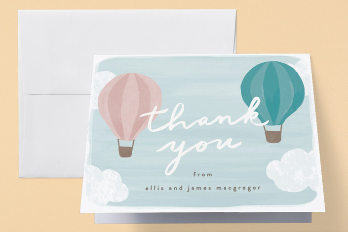 """""""Buoyant"""" - Baby Shower Thank You Cards in Aquamarine by Everett Paper Goods."""