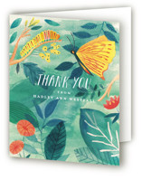 This is a green baby shower thank you card by Morgan Ramberg called Caterpillar and Butterfly with standard printing on strathmore in standard.